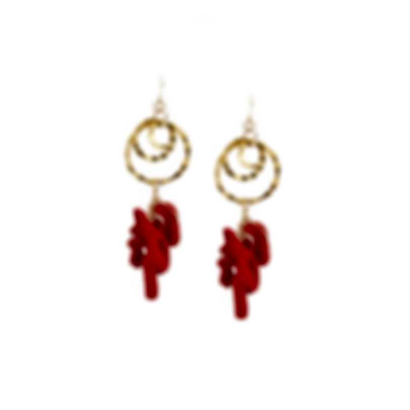 Devon Leigh 18K Gold Plated Brass And Red Sponge Coral Dangle Earrings E3657