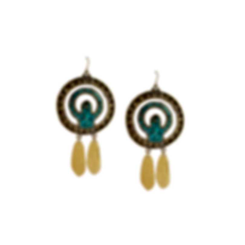 Devon Leigh 18K Gold Plated Brass & 14k Gold & Turquoise Dangle Earrings E3829