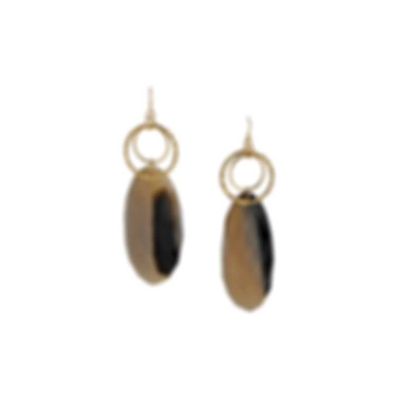 Devon Leigh Buffalo Horn (Varies In Color) 24K Gold Electroplated Chain, 14K Gold Filled Ear Wire Earrings