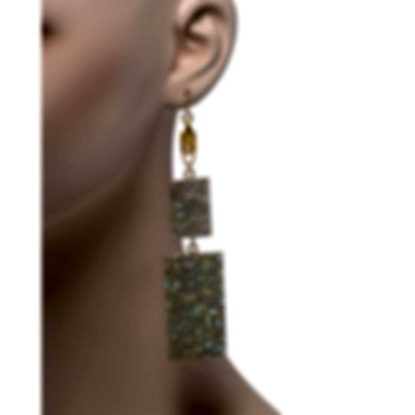 Devon Leigh 24k Gold Plated Brass And 14k Gold And Crystal Dangle Earrings E4401
