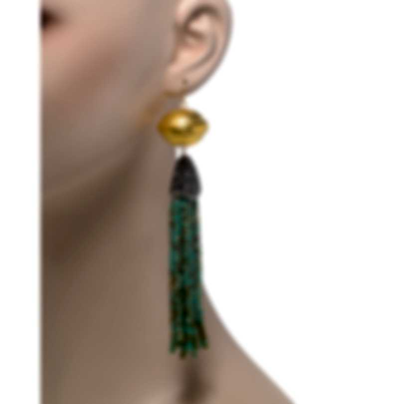 Devon Leigh 18K Gold Plated Brass And 14k Gold And Crystal Tassel Earrings E4444