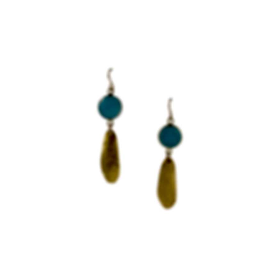 Devon Leigh 18K Gold Plated Brass & Blue Chalcedony Dangle Earrings E4475