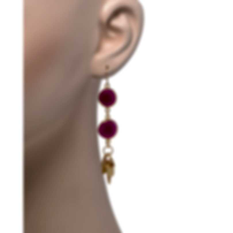 Devon Leigh 24k Gold Plated Brass And 14k Gold And Ruby Dangle Earrings E4477