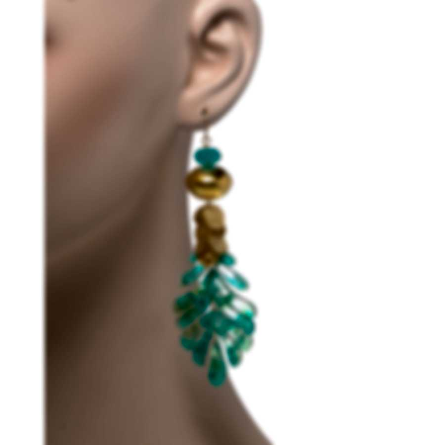 Devon Leigh 18K Gold Plated Brass & Amazonite Chandelier Earrings E4274
