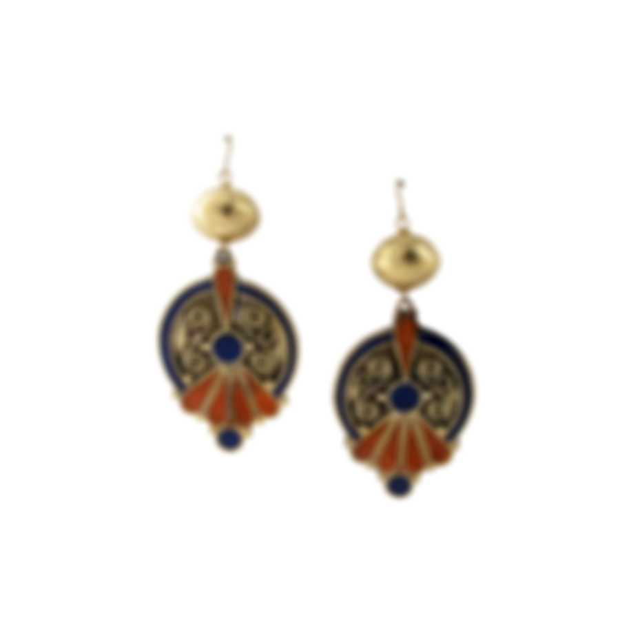Devon Leigh 18K Gold Plated Brass And 14k Gold And Lapis Dangle Earrings E4391