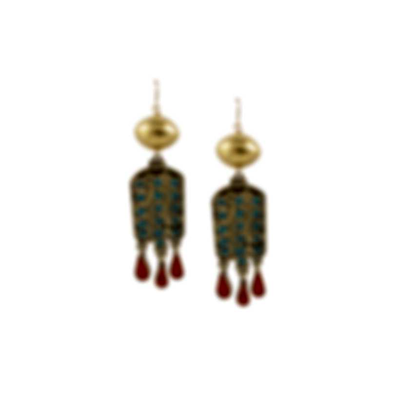 Devon Leigh 18K Gold Plated Brass & 14k Gold & Turquoise Dangle Earrings E4392