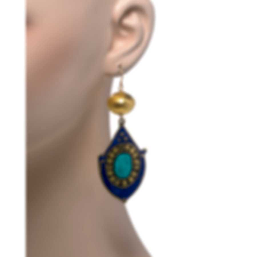 Devon Leigh 18K Gold Plated Brass And 14k Gold And Lapis Dangle Earrings E4396