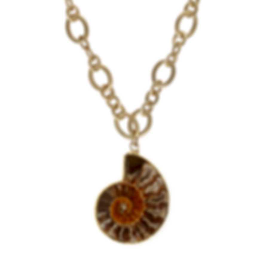 Devon Leigh Ammonite & 24k Gold Foil & 24k Gold Plated Pendant Necklace N4801