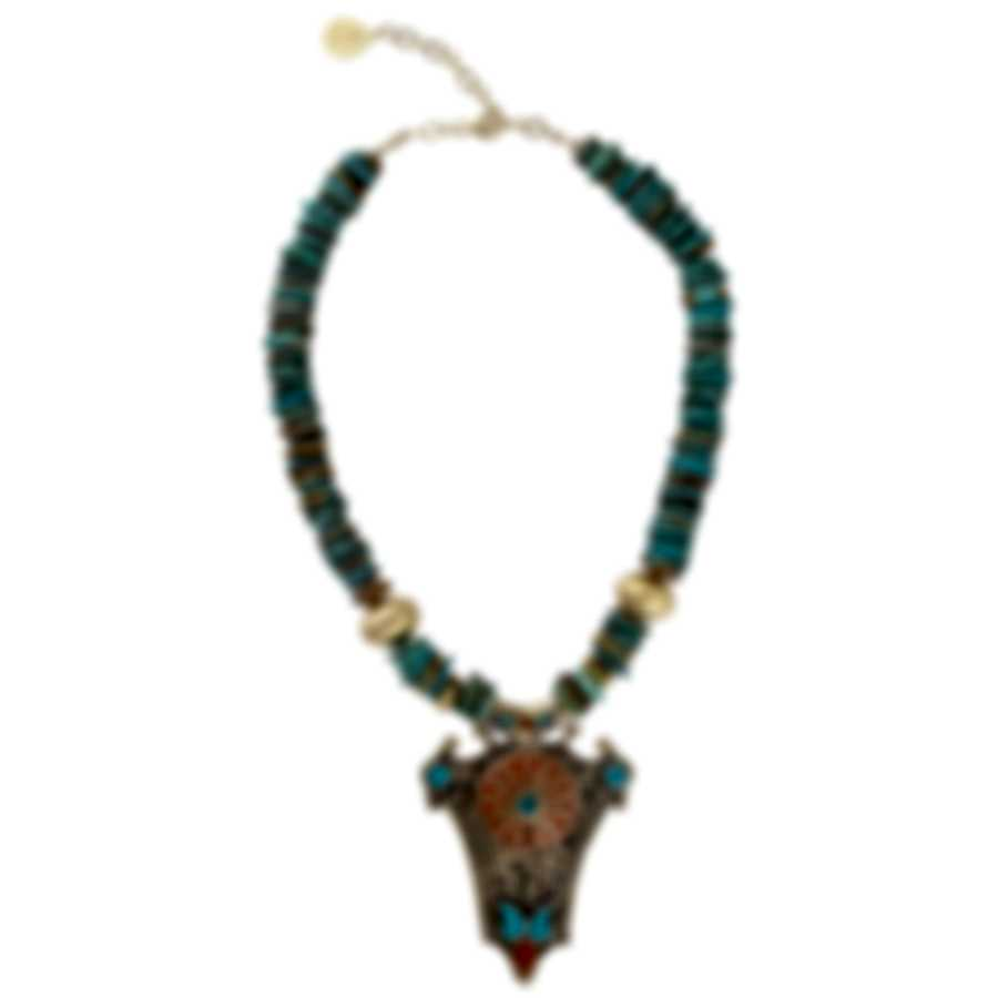 Devon Leigh 18k Gold Plated Brass & Turquoise Pendant Necklace N5624