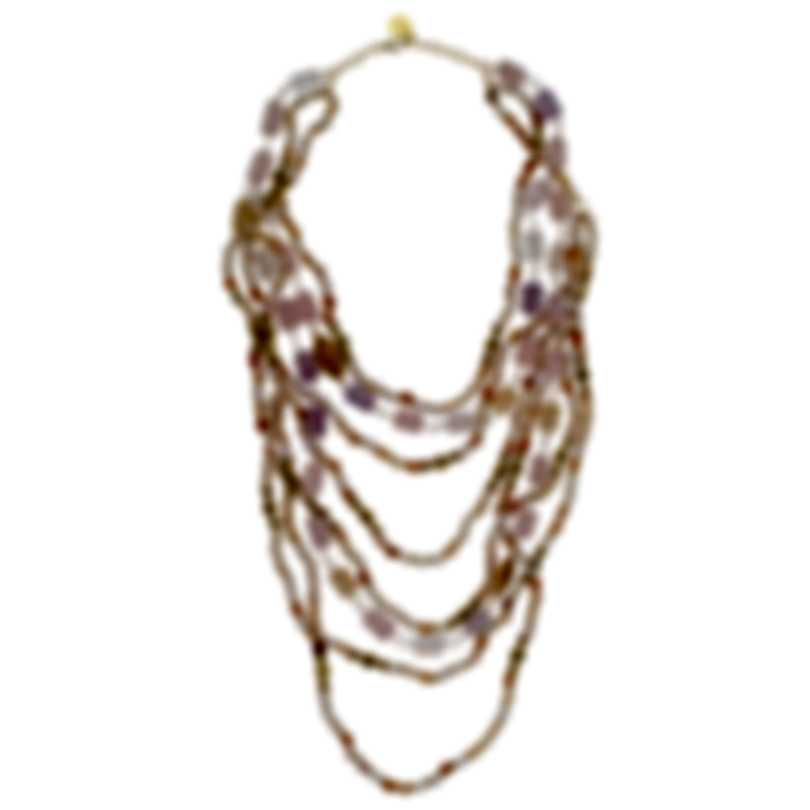 Devon Leigh 24k Gold Plated Brass And Amethyst Multi Strand Necklace N5669