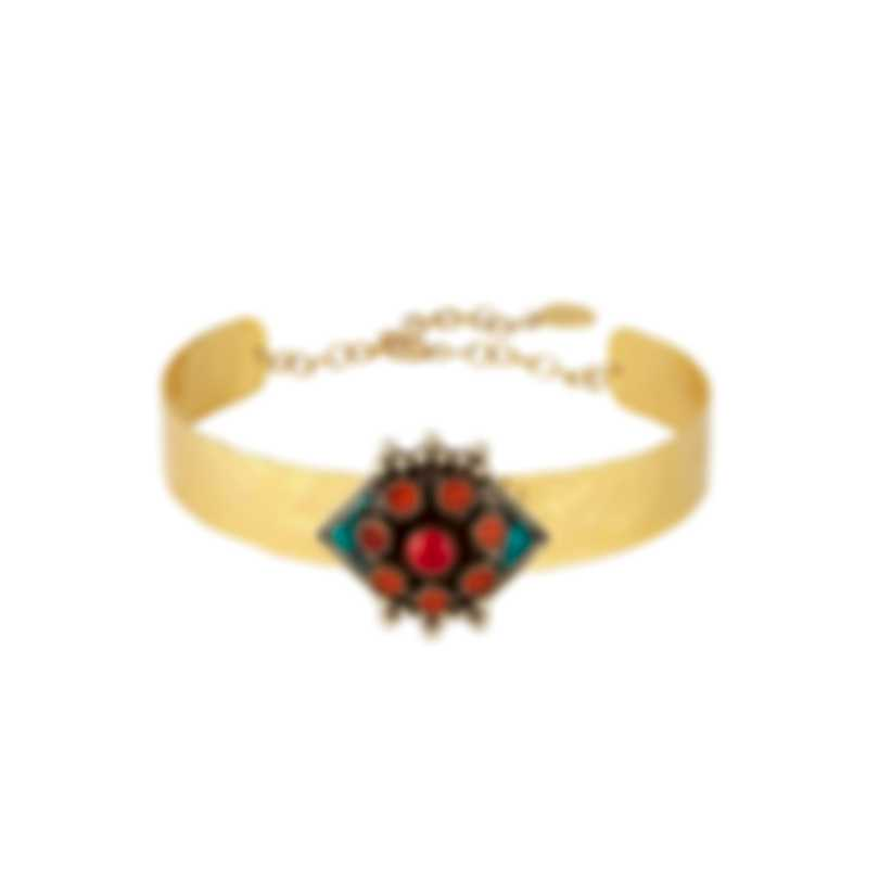Devon Leigh 18k Gold Plated Brass & Coral Choker Necklace N5755