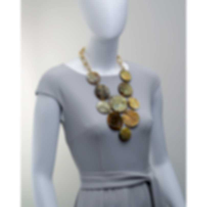 Devon Leigh Buffalo Horn And 24K Gold Plated Brass Bib Necklace N5778-C