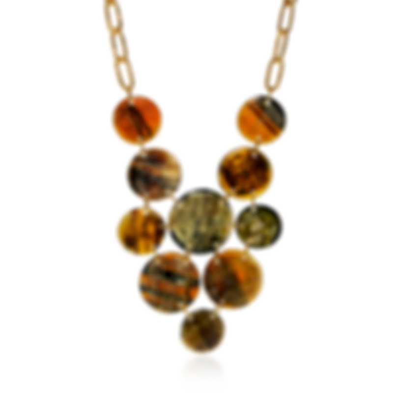 Devon Leigh Buffalo Horn And 24K Gold Plated Brass Bib Necklace N5778-A