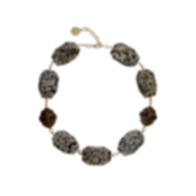 Devon Leigh 24K Gold Plated Brass And Dalmatian Jasper Collar Necklace N5821