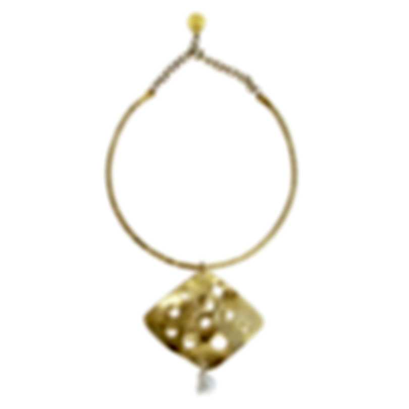 Devon Leigh Shell Pearl 18K Gold Plated Brass, 24K Gold Electroplated Chain Necklace
