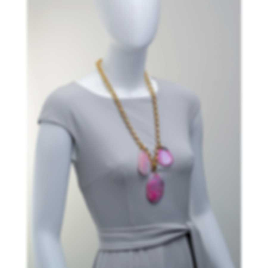Devon Leigh 24k Gold Plated Brass And Agate Pendant Necklace N5244