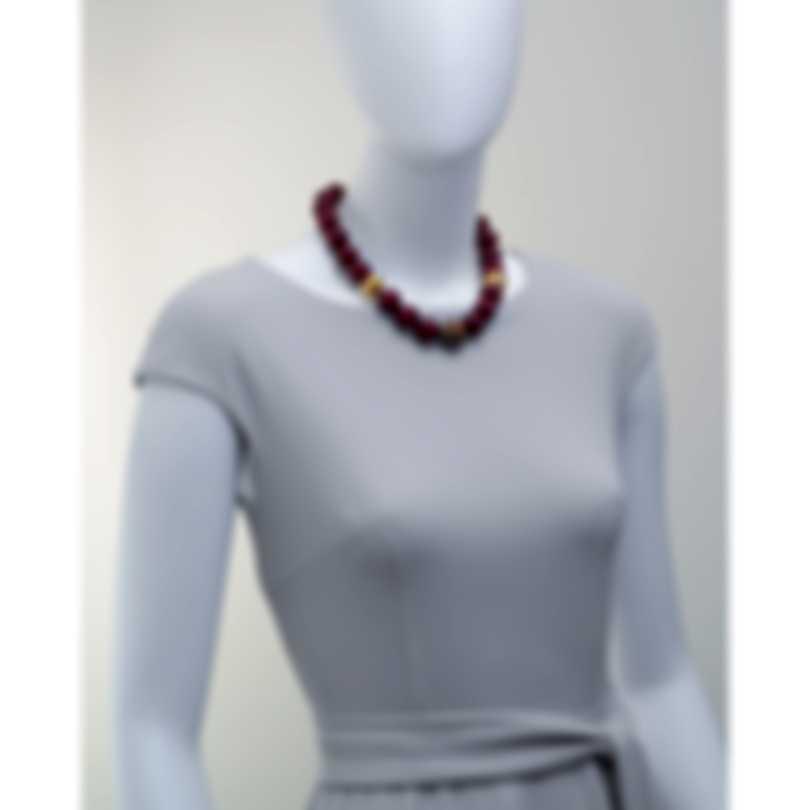 Devon Leigh 18k Gold Plated Brass & Red Jade Collar Necklace N6474