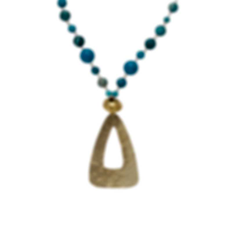 Devon Leigh 18k Gold Plated Brass And Turquoise Pendant Necklace N6609