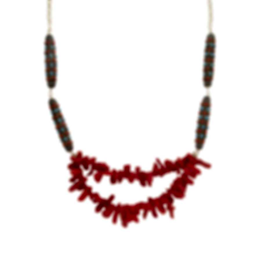 Devon Leigh 24K Gold Plated Brass & Red Sponge Coral Multi Strand Necklace N6070