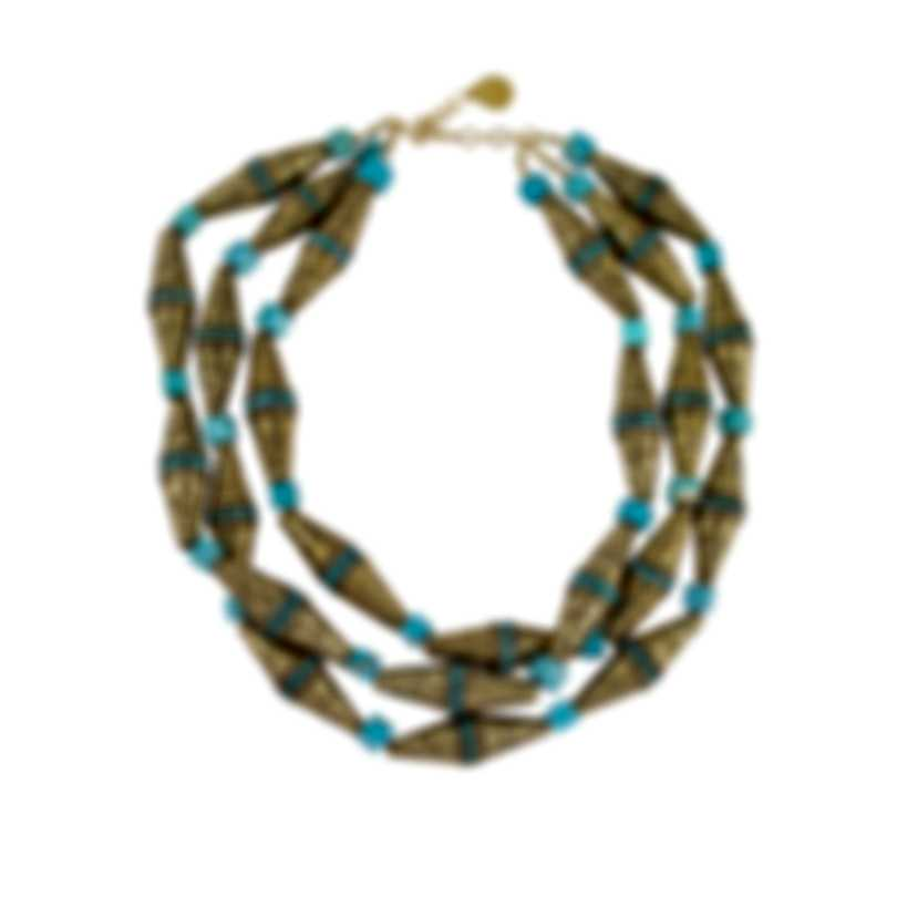 Devon Leigh 24K Gold Plated Brass And Howlite Multi Strand Necklace N6075