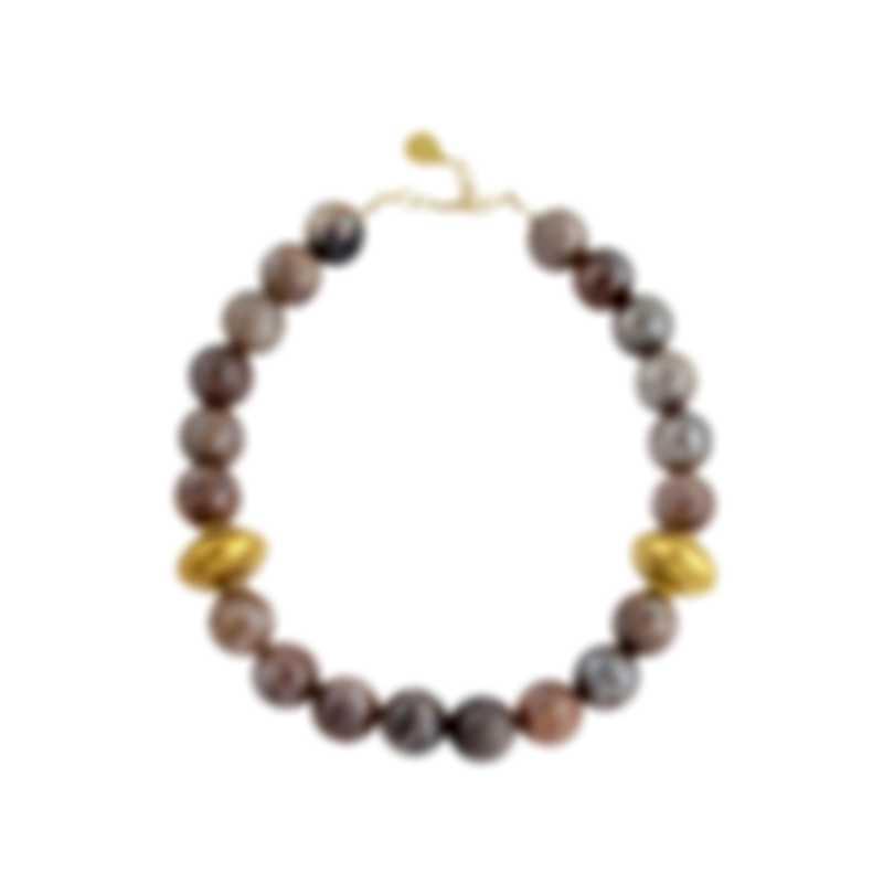 Devon Leigh 18k Gold Plated Brass & Orange Moonstone Collar Necklace N6156