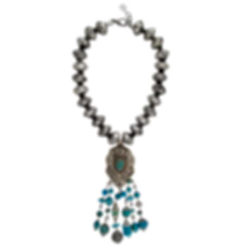 Devon Leigh Brass And Turquoise Pendant Necklace N6203