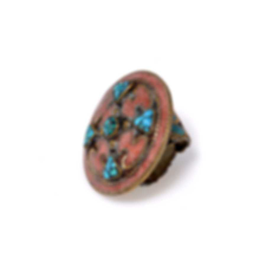 Devon Leigh Brass And Coral Statement Sz Adjustable Ring R0251