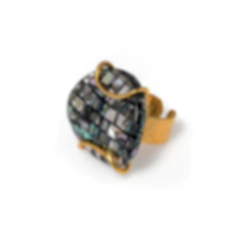 Devon Leigh Abalone Shell & 18k Gold Plated Brass Size Adjustable Ring R0257