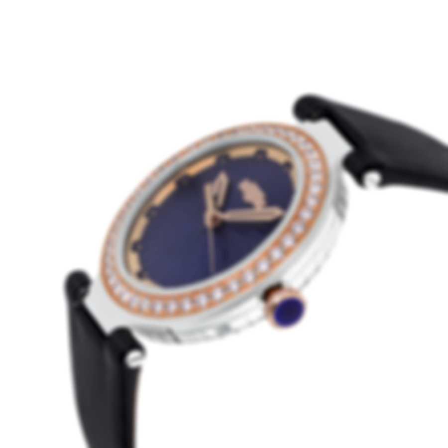 Dewitt Blue Empire Diamond 18K Rose Gold And Steel Quartz Ladies Watch BEM.QZ.001-BLK