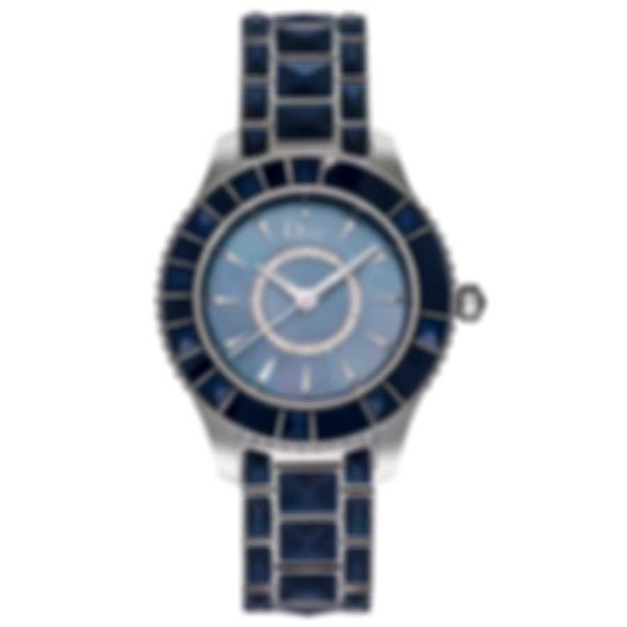 Dior Christal Diamond Mother Of Pearl Blue Quartz Women's Watch CD143117M001