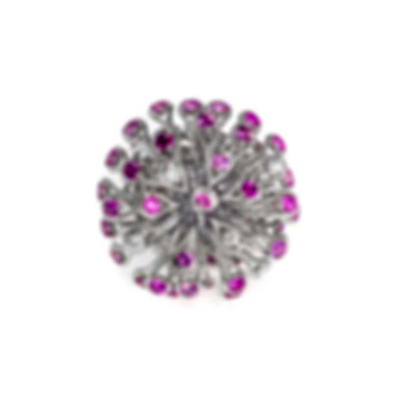 Dior Feu D'artifice 18k White Gold Diamond 0.62ct And Sapphire Ring Sz 6 JFAR94003-6