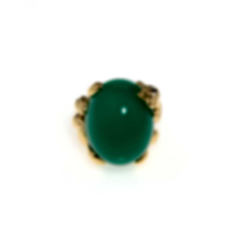 Dior Gourmande Grenouille 18k Yellow Gold Diamond 0.04ct And Chrysoprase Ring Sz 7 JGGR95001-7