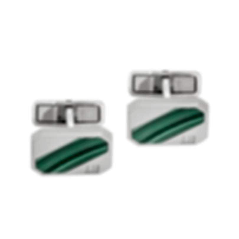Dunhill Longtail Stripe Silver & Green Sterling Silver Cufflinks 18FUS8211040TU