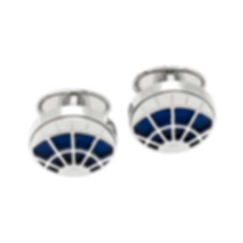 Dunhill Skeleton Silver & Blue Sterling Silver Cufflinks 18FUS8212040TU