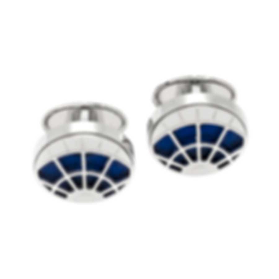 Dunhill Skeleton Silver & Blue Sterling Silver Cufflinks 18FUS8212040TU