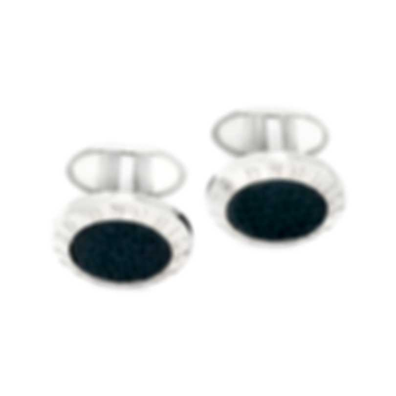 Dunhill AD Coin Silver & Blue Sterling Silver And Leather Cufflinks 19RUS8201040TU