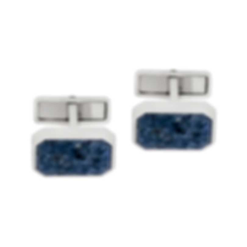 Dunhill Cadogan Plaque Silver & Blue Sterling Silver And Dumorite Cufflinks 19RUS8227040TU