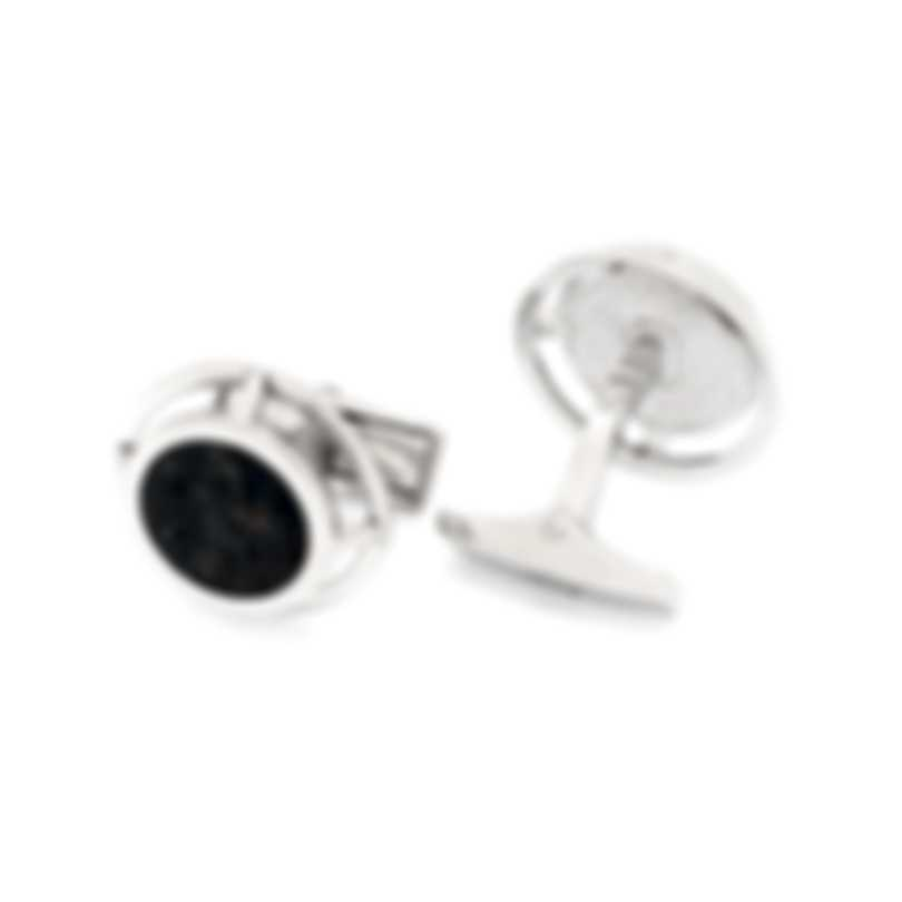 Dunhill Wirefame Silver & Black Sterling Silver And Sapphire Cufflinks JMT3245K