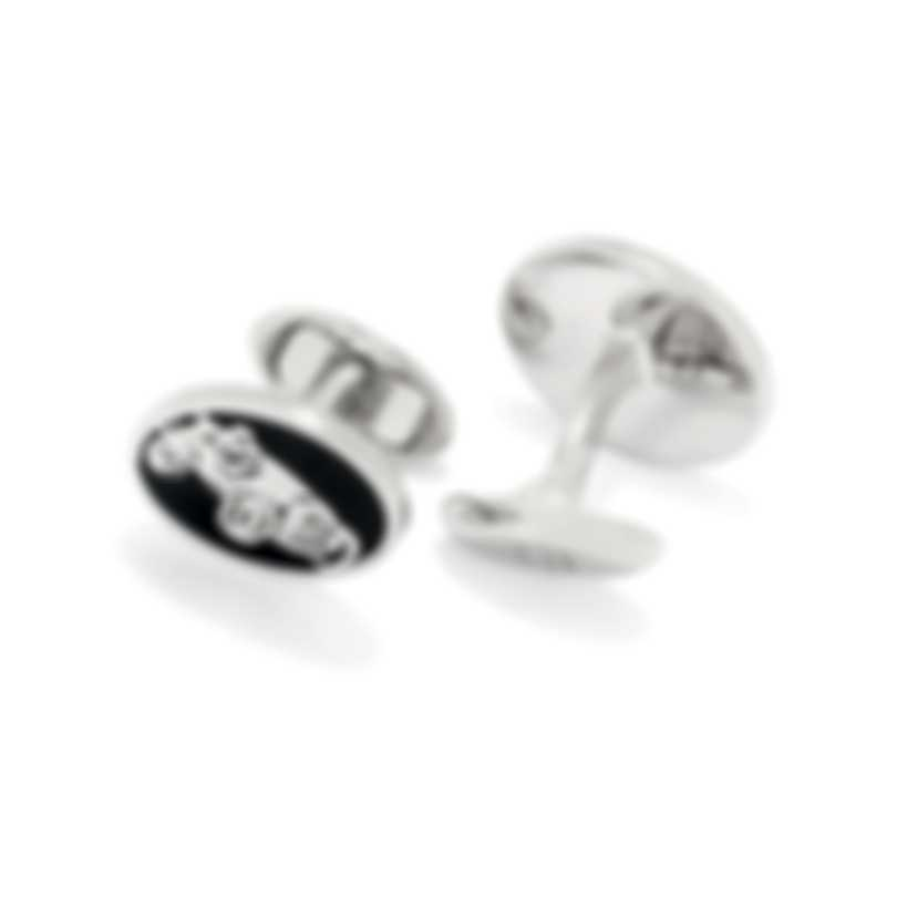 Dunhill Racer Silver Rhodium Plate And Resin Cufflinks JNB32F9K