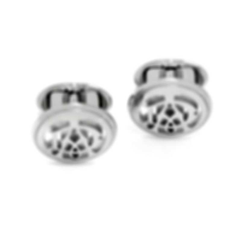 Dunhill AD Mono Circle Silver Rhodium Plate Cufflinks JNB32G2K