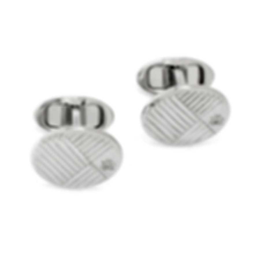 Dunhill AD Diagonal Sterling Silver Cufflinks JNC32J6K