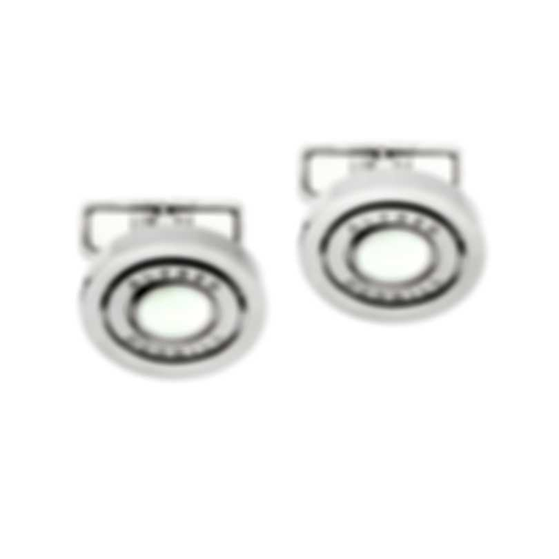 Dunhill Gyro Silver & White Brass And Mother Of Pearl And Palladium Plate Cufflinks JNN1257K
