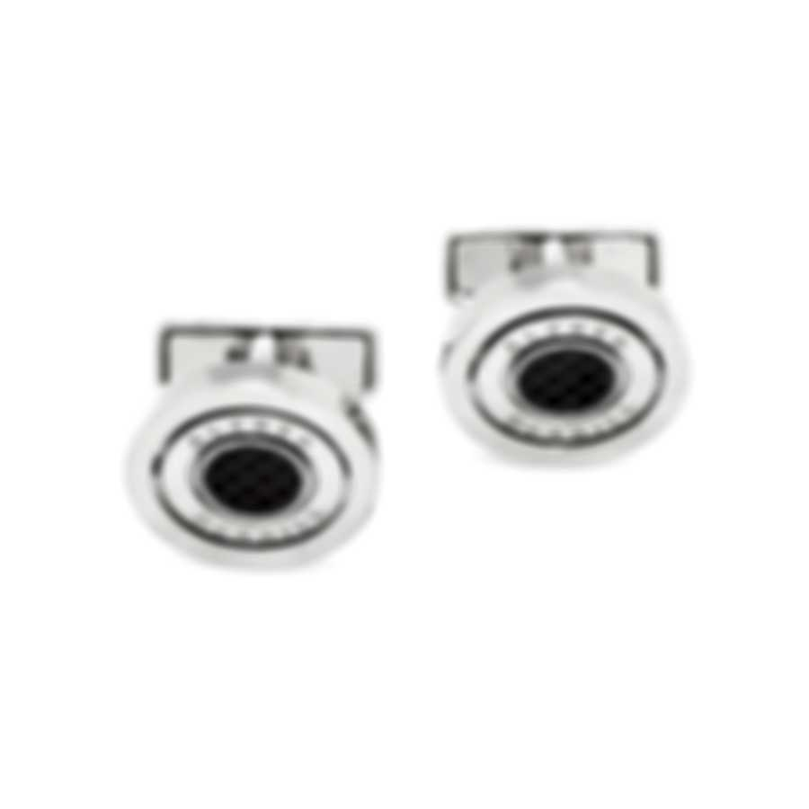 Dunhill Gyro Silver & Black Brass And Carbon Fiber And Palladium Plate Cufflinks JNN1256K