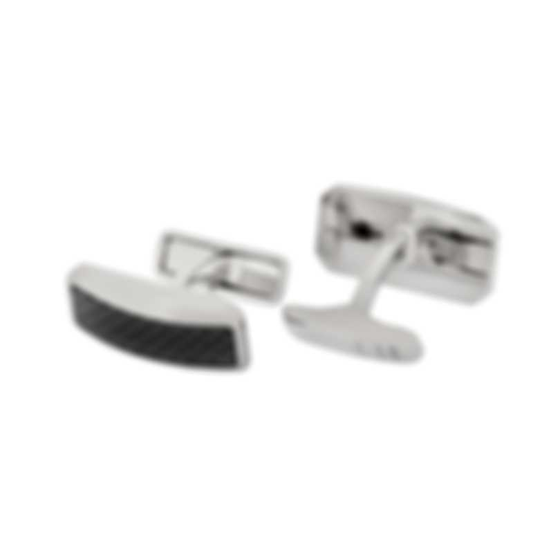 Dunhill Avorities Silver & Black Brass And Carbon Fiber And Palladium Plate Cufflinks JNV3247K