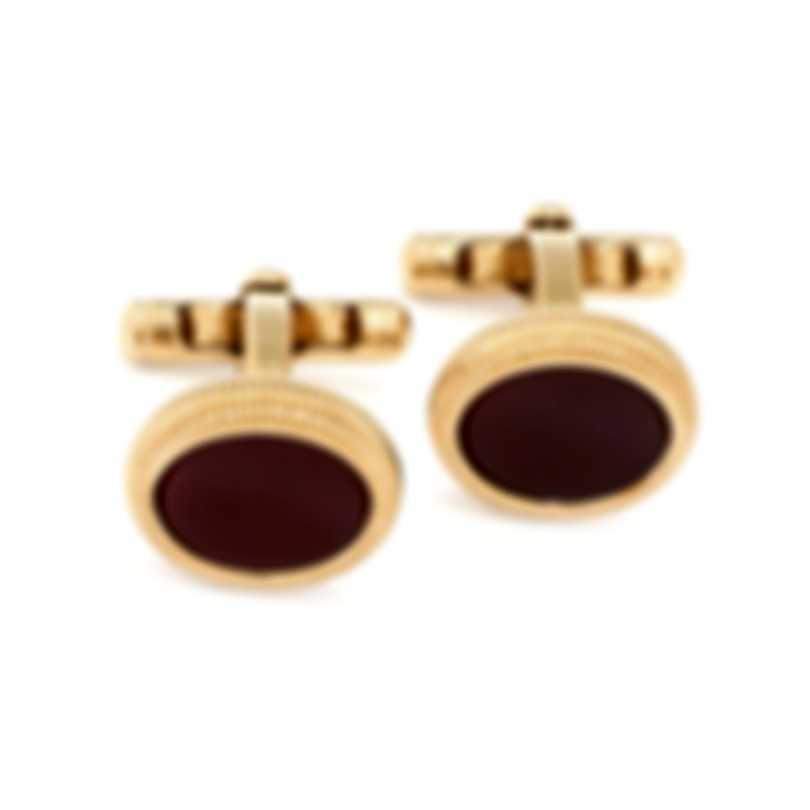 Dunhill Roller Red Gold Plate And Agate Cufflinks JNX5262K