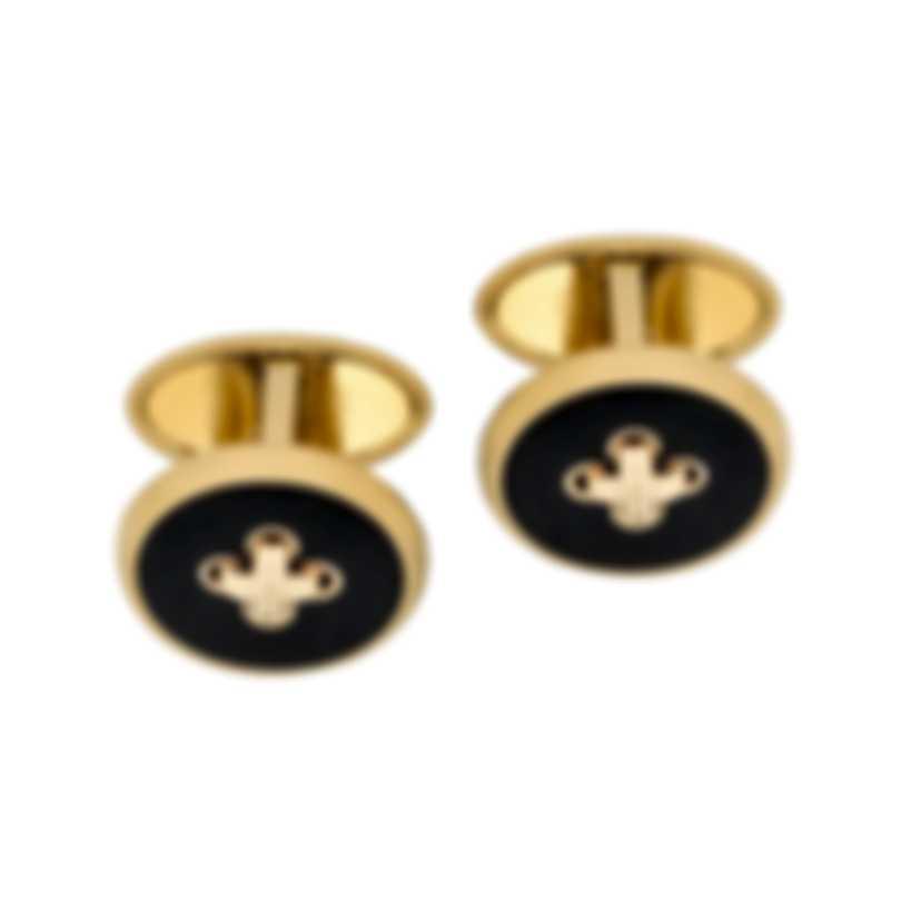 Dunhill Button Gold & BLACK Brass And Gold Plate Cufflinks JOY5210K