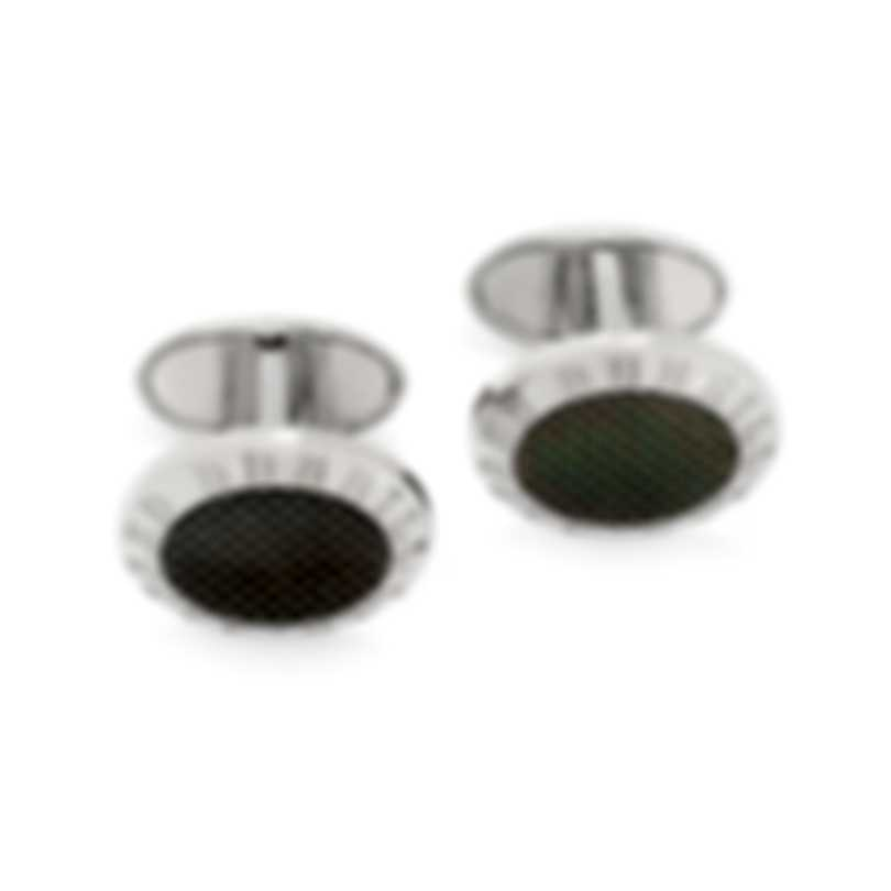 Dunhill Monolith Sterling Silver And Onyx Cufflinks JDV8217H