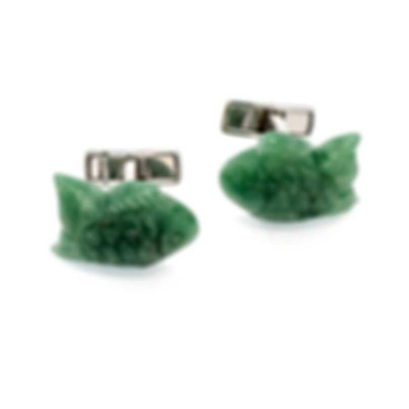 Dunhill Jade Fish Silver Jade And Sterling Silver Cufflinks JFR3298K