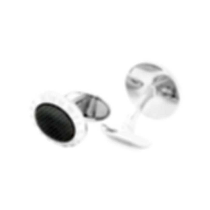 Dunhill AD Coin Silver & Grey Sterling Silver And Mother Of Pearl Cufflinks JSA82C4H