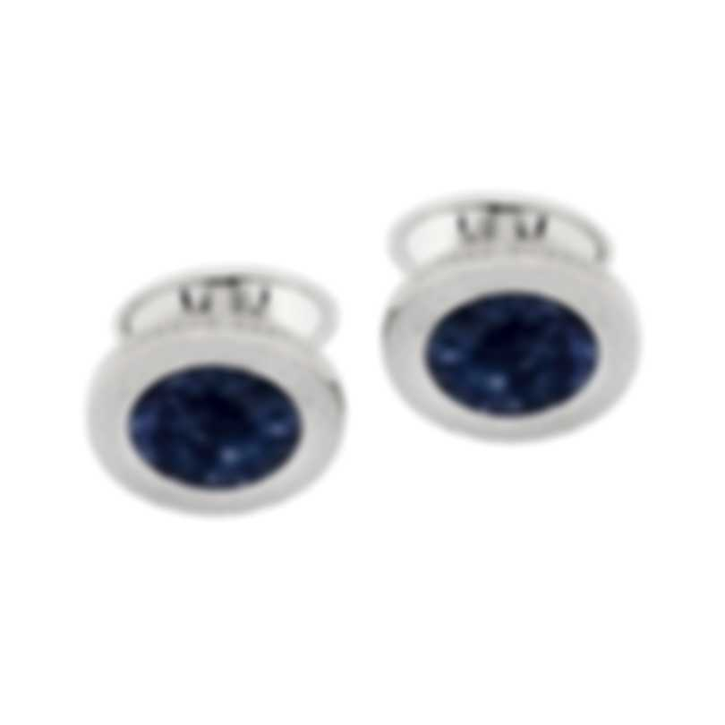 Dunhill Barley Rim Silver & Blue Sterling Silver And Sodalite Cufflinks JSA82C6H